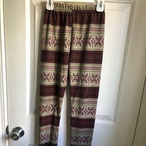Pants - patterned red and tan leggings